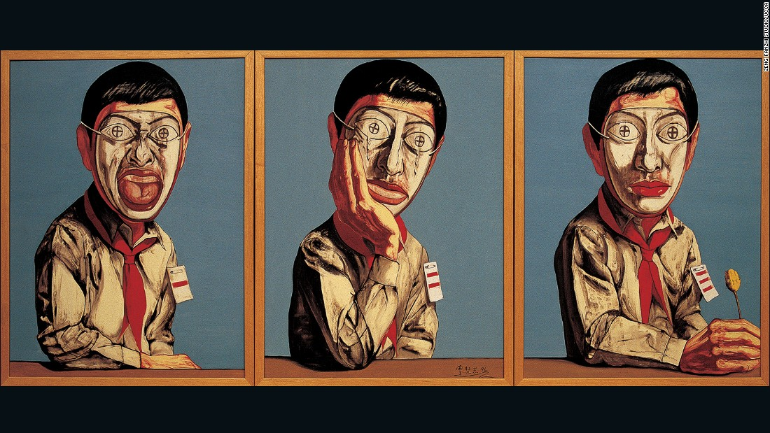 "A year after he arrived in Beijing, Zeng started to produce his iconic ""Mask"" series, paintings that reflect the alienation he felt while settling into the city's newly-rich, rapidly changing society. Zeng has said that he believed people in the Chinese capital hid their true identities from each other and themselves.<br />"