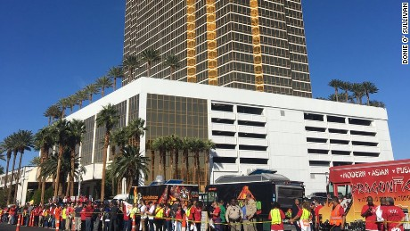 Taco trucks form a 'wall' outside Donald Trump's Vegas hotel