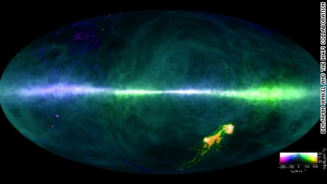 This HI4PI map was produced using data from the 100 metre Max-Planck radio telescope in Effelsberg, Germany and the 64 metre CSIRO radio telescope in Parkes, Australia. The image colours reflect gas at differing velocities. The plane of the Milky Way runs horizontally across the middle of the image. The Magellanic Clouds can be seen at the lower right.