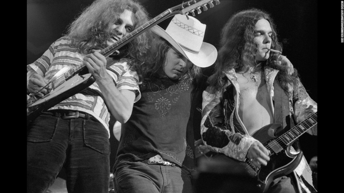 "From left, Collins, Van Zant and Rossington perform in New York. The band's ""three-guitar lineup gave them an uncommon musical muscle, while their down-to-earth songs spoke plainly and honestly from a working-class Southerner's perspective,"" says <a href=""https://www.rockhall.com/inductees/lynyrd-skynyrd"" target=""_blank"">their Hall of Fame biography.</a>"