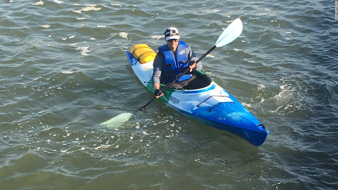 """Generally I don't get wet, so I can make do with the same clothes [to wear to work]. Some days I'll bring a change of clothes in the waterproof bag that straps to the back of the kayak. Outside of ice in the river, I'll make the commute ... a bit of rain or wind doesn't stop me,"" said Schwitzky."