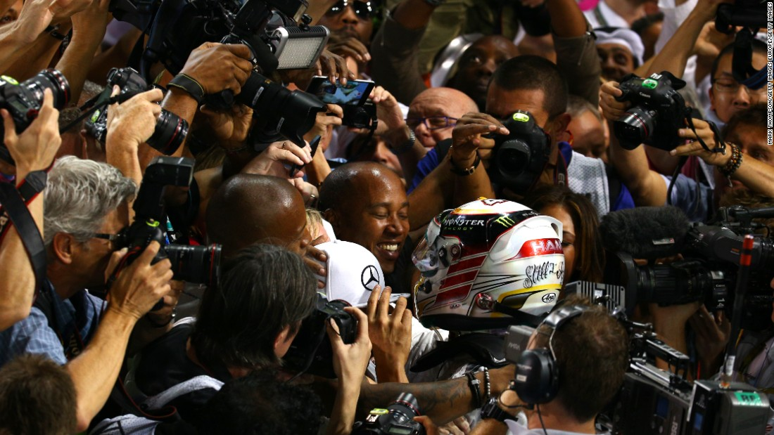 The pair fought off media attention to celebrate the moment Lewis won the title at the final race of the season in Abu Dhabi.