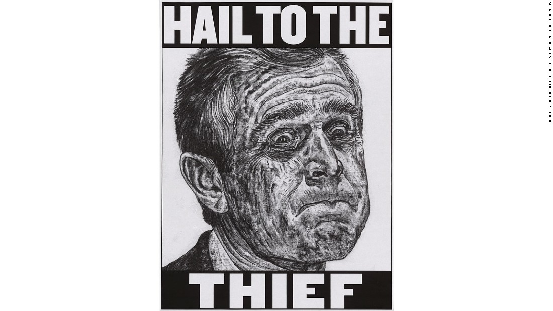 "One of several political posters to play on the well-known phrase ""Hail to the Chief"", this rendering reflects the highly charged results of the <a href=""http://edition.cnn.com/2015/10/31/politics/bush-gore-2000-election-results-studies/"">2000 U.S. presidential election</a>. Albert Gore, Jr. won the popular vote but lost the election to George W. Bush following a 36-day vote recount in the state of Florida. Katherine Harris, who certified the vote, was a principal fundraiser with the Florida Republican Party at the time while George W. Bush's brother, Jeb Bush, was the then governor of Florida."