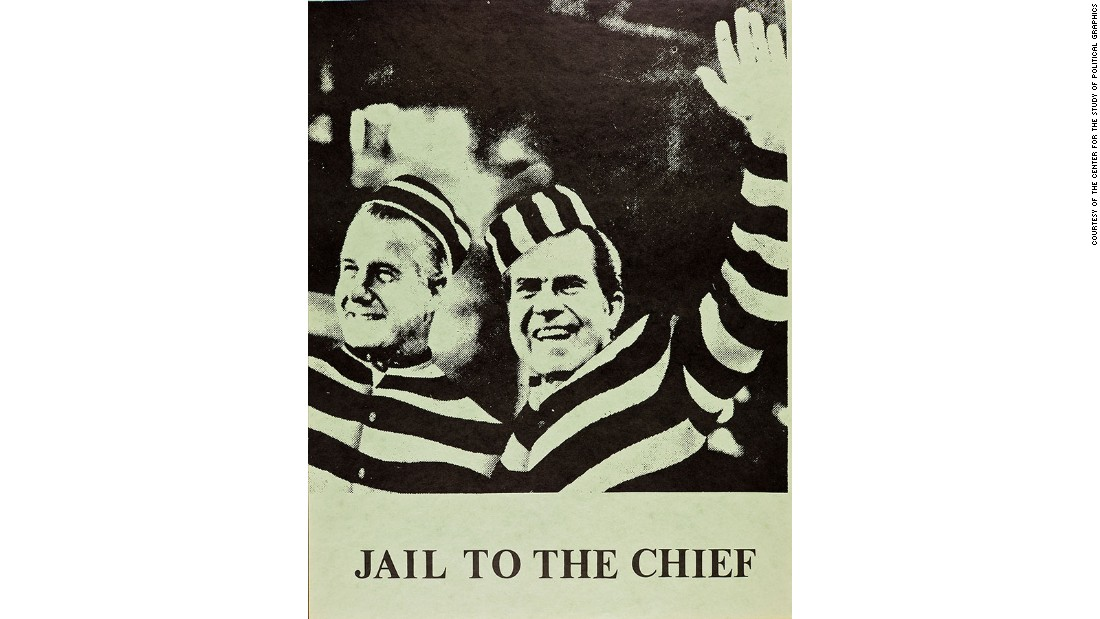 "Another take on ""Hail to the Chief,"" this poster features then U.S. Vice President, Spiro Agnew, and President Richard Nixon. Agnew resigned from office on October 10, 1973, after pleading no contest to charges of federal tax evasion. Nixon resigned on August 8, 1974 after being charged with high crimes and misdemeanors related to the 1972 <a href=""http://edition.cnn.com/2016/10/13/politics/watergate-counterfactual-naftali/"">Watergate</a> scandal."