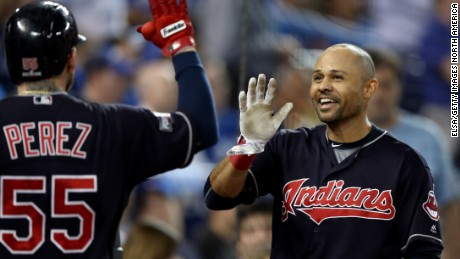 The Indians' Coco Crisp celebrates after hitting a home run in the fourth inning of game 5 in the ALCS