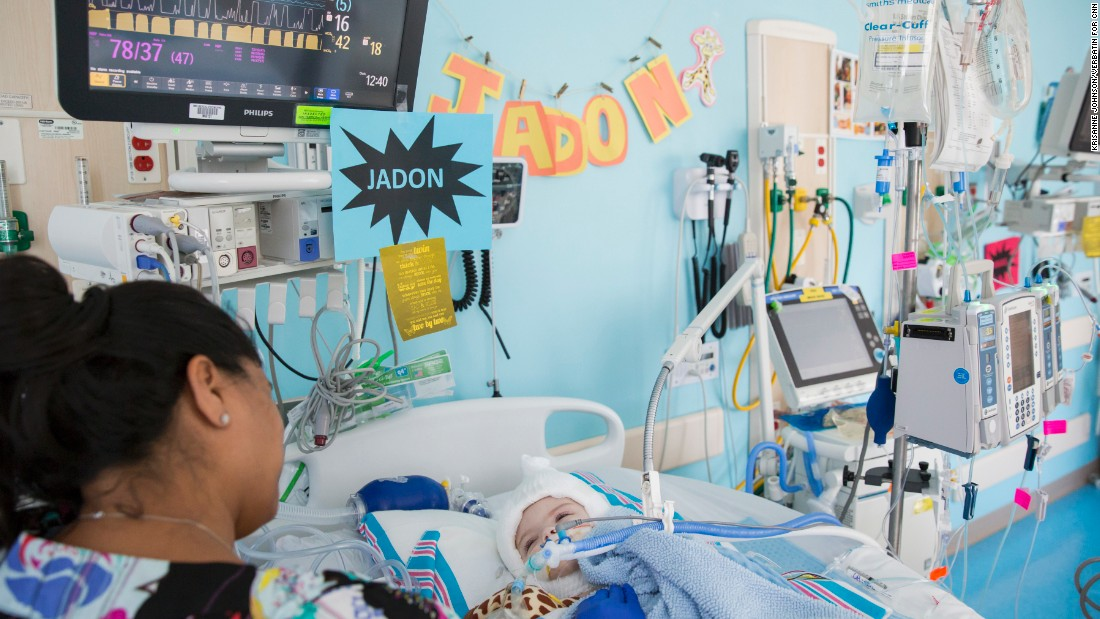 Jadon recovers in the PICU unit room.
