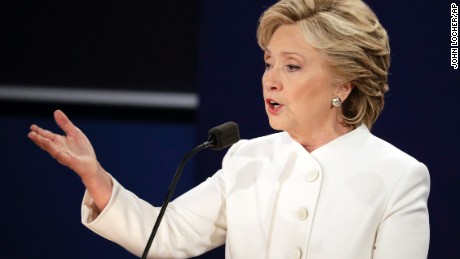 Democratic presidential nominee Hillary Clinton answers a question during the third presidential debate at UNLV in Las Vegas, Wednesday, Oct. 19, 2016. (AP Photo/John Locher)