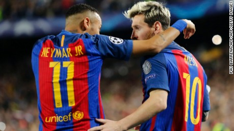 Neymar plays alongside Messi for Barcelona.