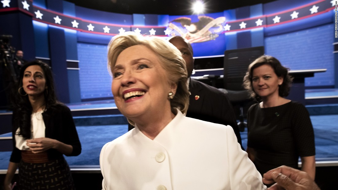 "Democratic nominee Hillary Clinton walks off stage following the <a href=""http://www.cnn.com/2016/10/19/politics/presidential-debate-highlights/index.html"" target=""_blank"">presidential debate in Las Vegas</a> on Wednesday, October 19."
