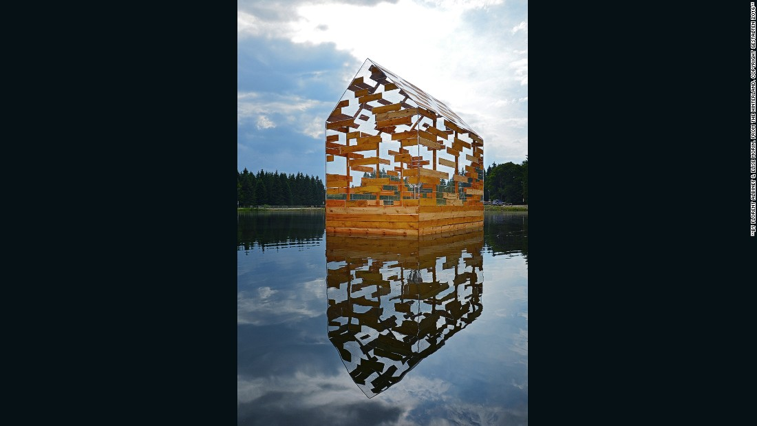 Walden's raft is a hybrid between a raft and a cabin. This mobile vessel is designed to look like a deconstructed version of a pitched roof cabin.