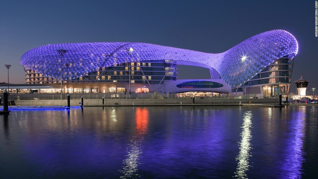 The race track on Yas Island is surrounded by lavish luxury hotels like Yas Viceroy Hotel Abu Dhabi, pictured, which has package deals during the races starting from around $4,870 for the weekend.
