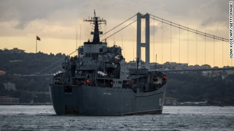 Russian warship BSF Nikolay Filchenkov 152 passes the Bosphorus Strait off Istanbul on October 18 on its way to Tartus.