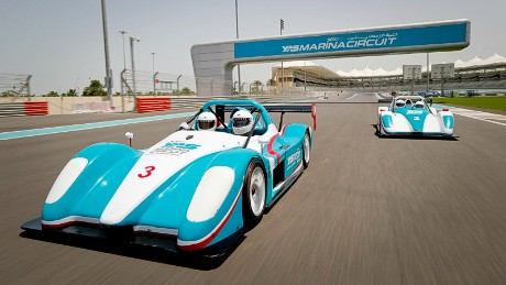 Visitors can test drive race cars at the marina.