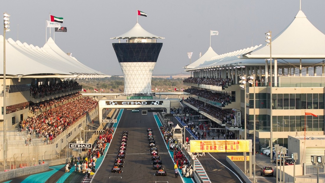 The Abu Dhabi circuit, inaugurated in 2009, is the only motorsports venue in the world with covered and shaded grandstands. Photo: Yas Marina Circuit.