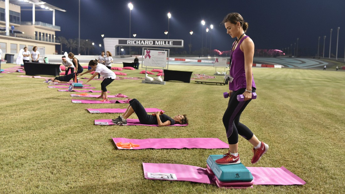Those looking to shake off the festivities of the previous night can take a fitness class at the circuit. Photo: Yas Marina Circuit.