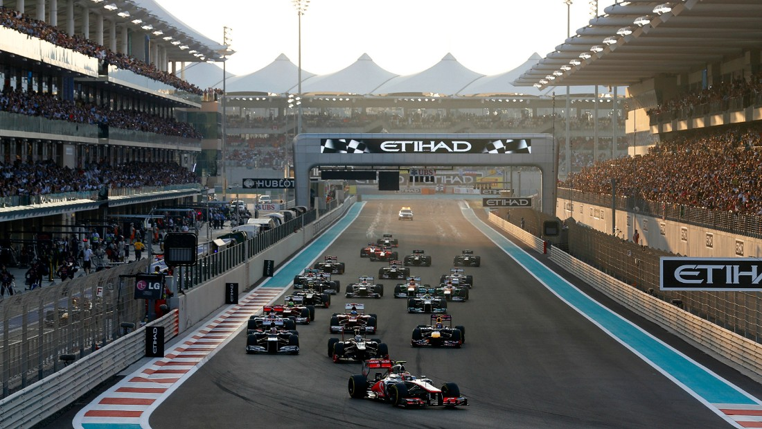 The best views, however, are from the air-conditioned VIP suites that overlook the start and finish line and come with unlimited food and drinks -- from $4,601 for a two-day package. Photo: Yas Marina Circuit.