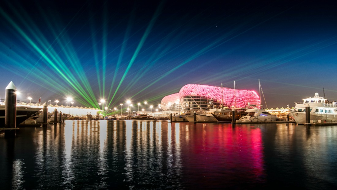 Hundreds of yachts book into the marina, which hosts laser shows and is lined by celebrity bars, for the races. Photo: Yas Marina Circuit.