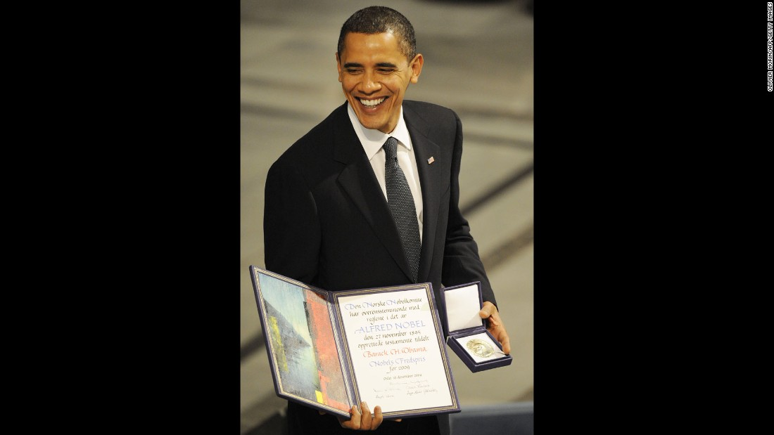 "Obama poses with a diploma and gold medal after <a href=""http://www.cnn.com/2009/WORLD/europe/10/09/nobel.peace.prize/index.html"" target=""_blank"">accepting the Nobel Peace Prize</a> in Oslo, Norway, on December 10, 2009. The Norwegian Nobel Committee said it honored Obama for his ""extraordinary efforts to strengthen international diplomacy and cooperation between peoples."" Obama was the fourth U.S. President to win the Novel Peace Prize. Theodore Roosevelt, Woodrow Wilson and Jimmy Carter also received the award."