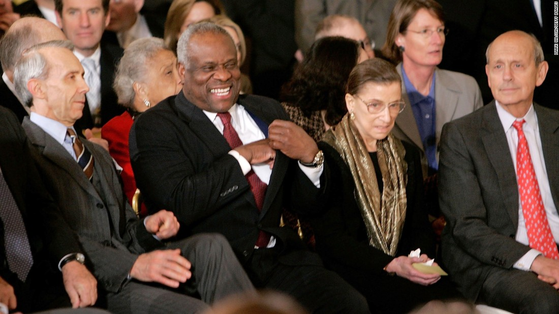 From left, Supreme Court Justices David Souter, Thomas, Ruth Bader Ginsburg and Stephen Breyer attend Alito's swearing-in.