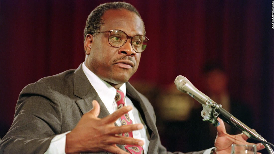 Thomas gestures during confirmation hearings before the Senate Judiciary Committee on September 10, 1991.