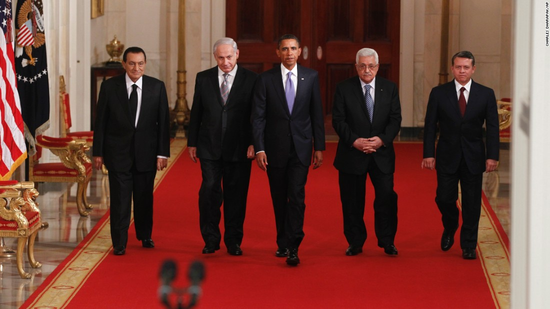 """Obama hosted a working dinner with Mideast leaders on September 1, 2010. With Obama, from left, are Egyptian President Hosni Mubarak, Israeli Prime Minister Benjamin Netanyahu, Palestinian Authority President Mahmoud Abbas and Jordan's King Abdullah II. Obama said he was <a href=""""http://www.cnn.com/2010/POLITICS/09/01/mideast.peace.talks/"""" target=""""_blank"""">""""cautiously hopeful""""</a> that talks could achieve a two-state solution to the long-running Mideast conflict."""