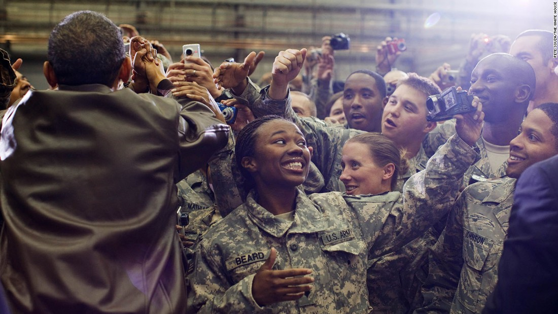 "The President greets U.S. troops after an unannounced flight to Afghanistan on December 3, 2010. The U.S. combat mission ended in Afghanistan in December 2014, but American troops <a href=""http://www.cnn.com/2016/07/06/politics/obama-to-speak-on-afghanistan-wednesday-morning/"" target=""_blank"">remain in the country</a> to support Afghan forces and counterterrorism operations."