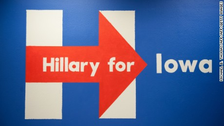 A caucus countdown poster at the Hillary Clinton Campaign field office in West Burlington, Iowa.