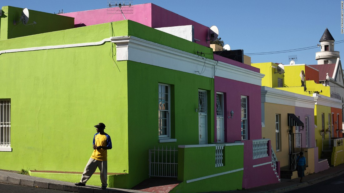 Just above downtown Cape town, the Bo-Kaap district's brightly painted houses and cobblestone streets are home to a predominately Muslim population. The area traces its origins back to the days of slavery.