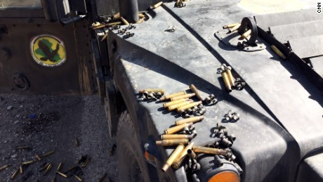 Bullet cases at the front line east of Bartella 18 kilometers from Mosul. Iraqi counterterror forces battled ISIS militants on the outskirts of the city.