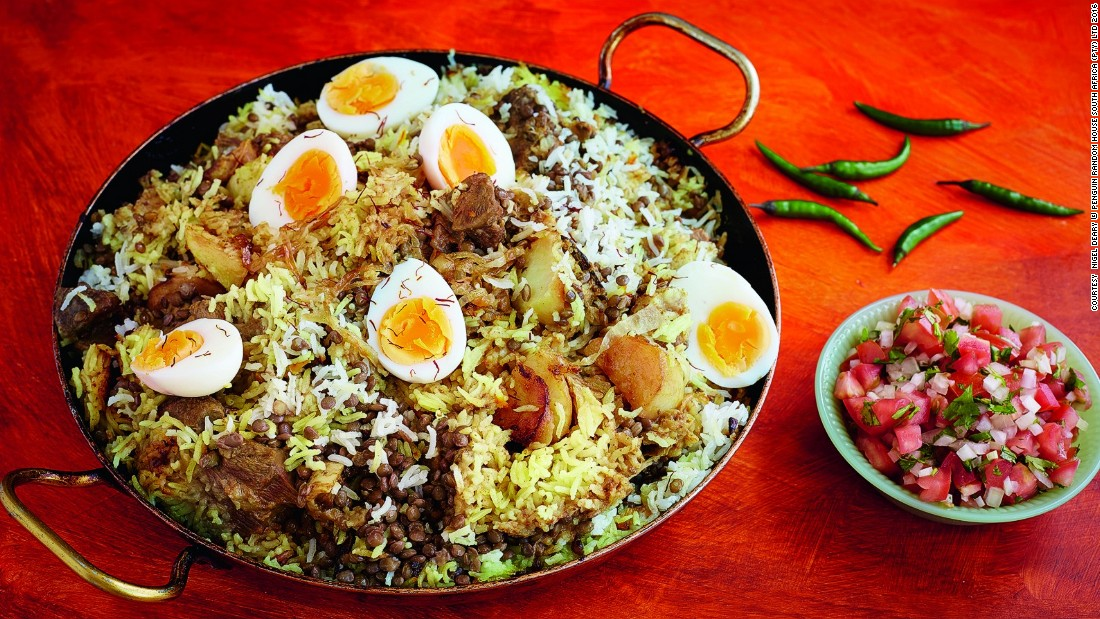 Now a staple in many South African households, this Lamb biryani is an aromatic rice stew originally from Persia. It often includes potatoes, lentils and mutton flavored with saffron and cloves.