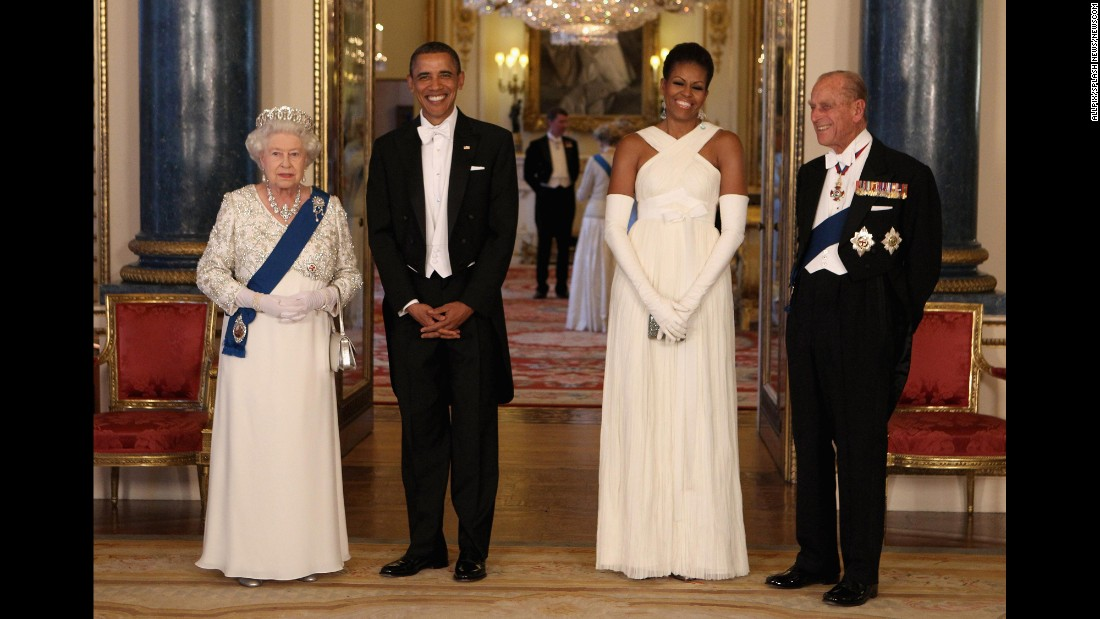"During <a href=""http://www.cnn.com/2011/POLITICS/05/24/obama.europe.visit/"" target=""_blank"">his state visit to England,</a> Obama was also able to meet with Queen Elizabeth II and Prince Philip. The first couple gave the queen a handmade leather-bound album with rare memorabilia and photographs that highlighted the visit by her parents -- King George VI and Queen Elizabeth -- to the United States in 1939. To Prince Philip, they gave a custom-made set of pony bits and shanks and a set of horseshoes worn by a recently retired champion carriage horse.<br />The Obamas were given copies of letters in the royal archives from a number of U.S. presidents to Queen Victoria. Michelle Obama also was given an antique broach in the form of roses made of gold and red coral."