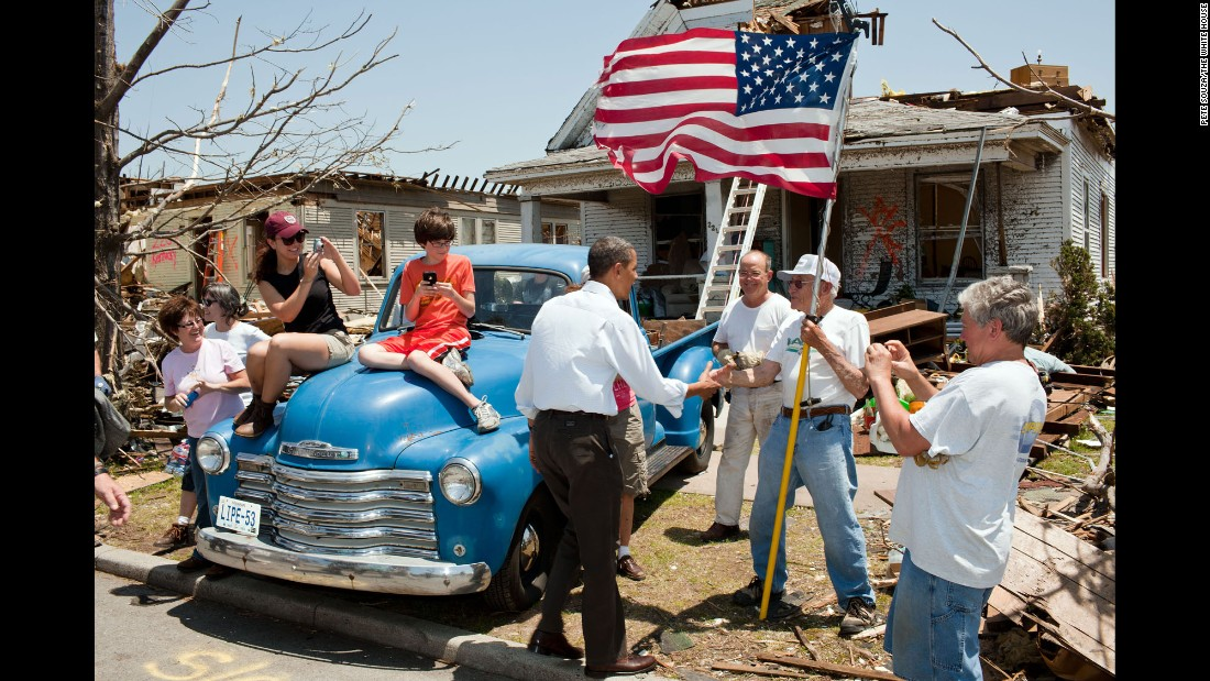 "Obama greets Hugh Hills, 85, in front of Hills' tornado-damaged home in Joplin, Missouri, on May 29, 2011. It was <a href=""http://www.cnn.com/2016/05/22/us/joplin-tornado-anniversary/"" target=""_blank"">the deadliest tornado to hit American soil</a> since the National Weather Service began keeping records in 1950. Nearly 160 people were killed."