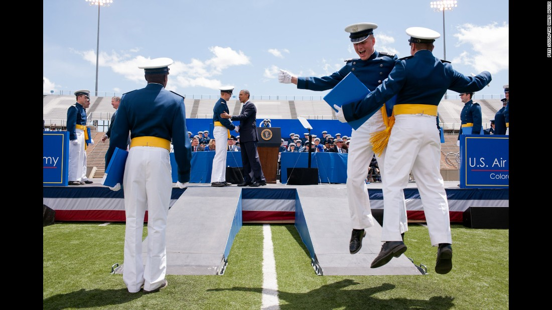 Obama congratulates cadets as they receive their diplomas from the U.S. Air Force Academy on May 23, 2012.