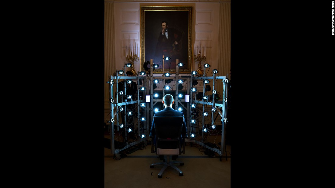 "The President sits for a 3-D-printed bust being produced by the Smithsonian Institution on June 9, 2014. <a href=""https://www.whitehouse.gov/blog/2014/12/02/new-video-provides-behind-scenes-look-first-3d-printed-presidential-portraits"" target=""_blank"">See the final product</a> from the White House Maker Faire, which highlighted the importance of 3-D printing and other technologies that help people design and build new things."