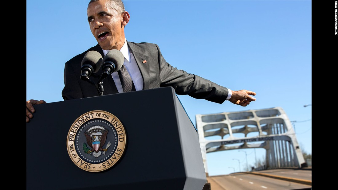 "Obama delivers remarks at the Edmund Pettis Bridge on the 50th anniversary of <a href=""http://www.cnn.com/2015/01/06/us/gallery/selma-bloody-sunday-1965/index.html"" target=""_blank"">""Bloody Sunday,""</a> when marchers were brutally beaten in Selma, Alabama, as they demonstrated for voting rights in 1965."