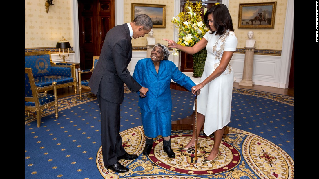 "The Obamas greet Virginia McLaurin, 106, before a White House reception celebrating African-American History Month on February 18, 2016. McLaurin was so excited that <a href=""http://www.cnn.com/2016/02/22/politics/virginia-mclaurin-obama-meeting-video/"" target=""_blank"">she started dancing,</a> and the video went viral."