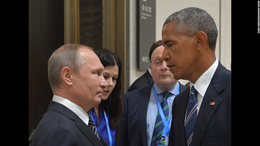 "Russian President Vladimir Putin meets Obama at the G-20 Summit in Hangzhou, China, on September 5, 2016. Obama, who had <a href=""http://www.cnn.com/2016/09/05/politics/barack-obama-g20-summit-asia/"" target=""_blank"">a 90-minute session with Putin,</a> said their talk was ""candid, blunt and businesslike,"" and included the issues of cyberintrusions and the Syrian conflict."