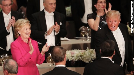 NEW YORK, NY - OCTOBER 20:  Hillary Clinton and Donald Trump attend the annual Alfred E. Smith Memorial Foundation Dinner at the Waldorf Astoria on October 20, 2016 in New York City.The white-tie dinner, which benefits Catholic charities and celebrates former Governor of New York  Al Smith, has been attended by presidential candidates since 1960 and gives the candidates an opportunity to poke fun at themselves and each other.  (Photo by Spencer Platt/Getty Images)