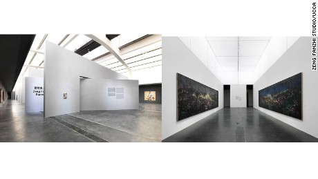 "The exhibition space for ""Zeng Fanzhi: Parcours"" was designed by Tadao Ando Architect & Associates"