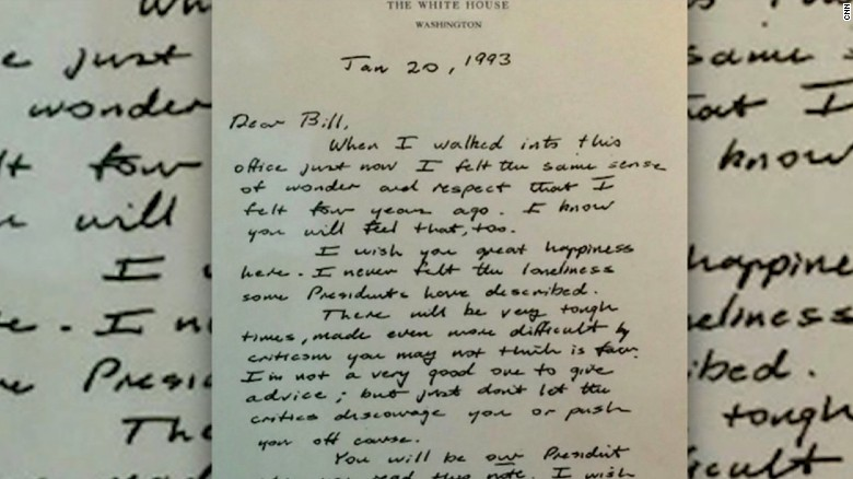 Bush wrote gracious letter to Bill Clinton after loss