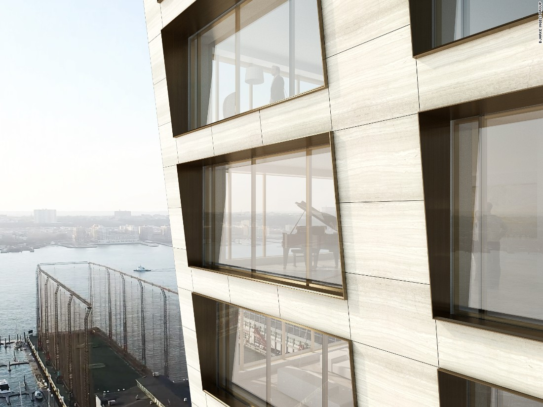 The twisted design serves a practical purpose by allowing more expansive views of the adjacent Hudson River and lower Manhattan.