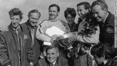Graham Hill (third from left) and Jim Clark (second from right) won three US Grand Prix at Watkins Glen during the 1960s.