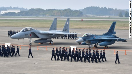 Japanese F-15 and F-2 fighter jets.