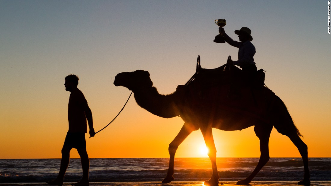 Dual Melbourne Cup winning jockey Jim Cassidy takes the 2016 Emirates Melbourne Cup for a camel ride along Cable Beach, Broome, Western Australia.