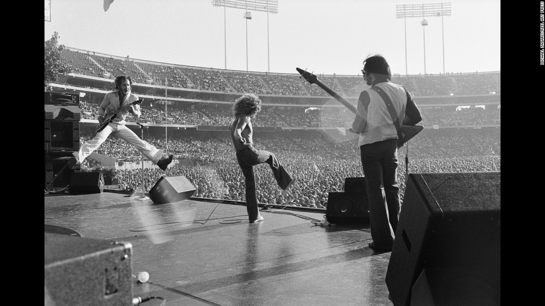 "The Who performs at the Oakland Coliseum in 1976. ""Very much the way an actor that really is into the whole Stanislavski thing where you become what you're doing, I wanted to become whoever I was with,"" Zagaris said. ""And then, in doing that, my portrayal with the camera would get you an inside-out view."""