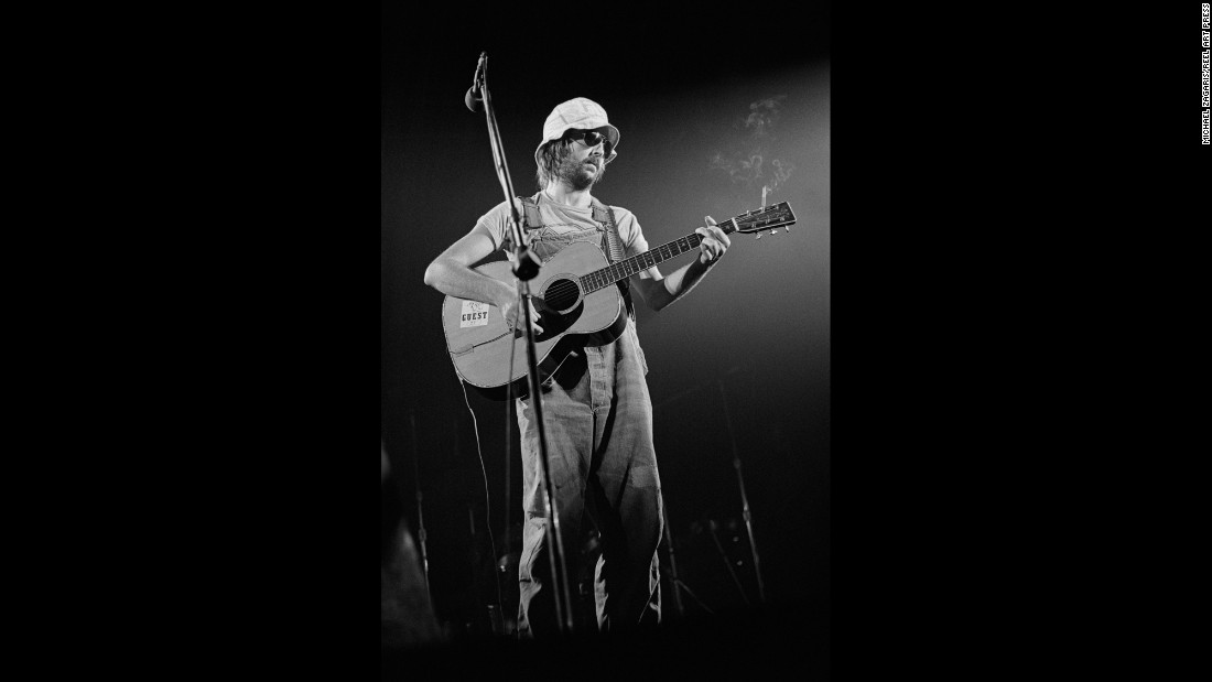 "Eric Clapton plays the Cow Palace, outside San Francisco, in 1974. It was Clapton who gave Zagaris the idea to pursue photography as an avocation. After seeing several proofs that Zagaris had taken of him, Clapton asked if he could use them for songbooks and albums: ""He said, 'Look man, we'll pay you,' and I said, 'Cool!' """