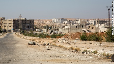 Few signs indicate residents are heeding calls to leave Aleppo's rebel-held Kalasa neighborhood.