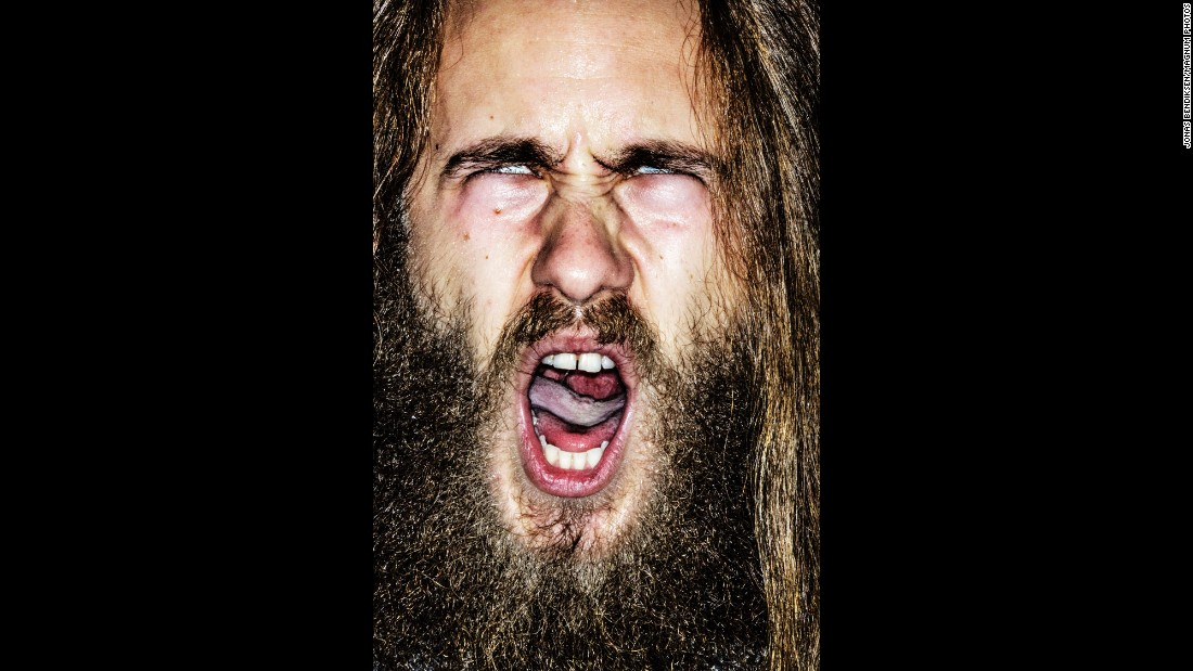 "Aleksander Ilievski is a singer with Norwegian metal bands Imaginator and Empty. Jonas Bendiksen photographed Ilievski and many others for his portrait series ""Singing Norwegian Singers."" It's on exhibition through October 27 at the Leica Gallery Mayfair in London."