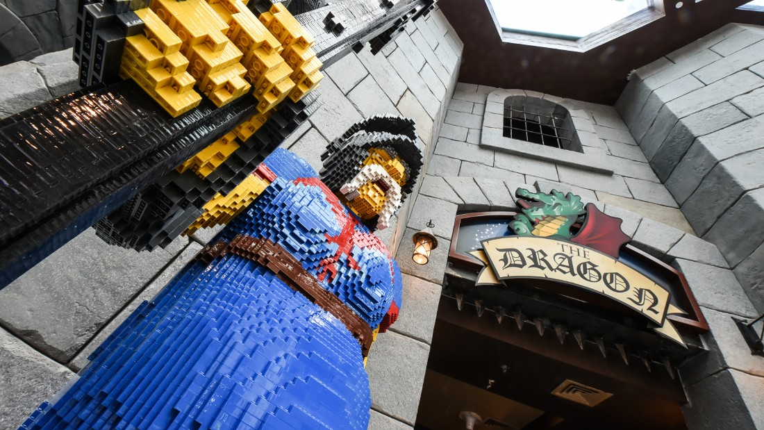 Young Lego lovers can enter the Kingdoms Castle, and jump onto one of the dragon rides. (Picture credit: Dubai Parks and Resorts)
