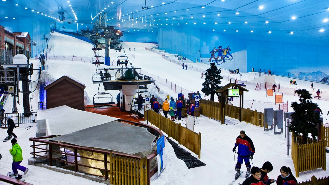 The adventurous can ski or snowboard at the indoor mountain slope or take a lift to the alpine cafe at the top and sip on a cup of hot cocoa. (Picture credit: Ski Dubai)
